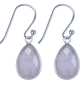 Treasure Silver earrings drop 9 x 13 mm pink quartz