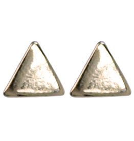 Treasure Silver stud earrings triangle 4x4 mm gold plated