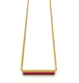 Nadja Carlotti Gold plated necklace étincelle red