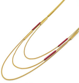 Nadja Carlotti Gold plated multi necklace red