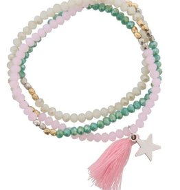 With love Elastic bracelet pink- green