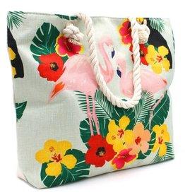 With love Beach bag flamingos colors