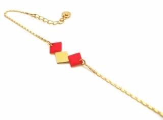 Nadja Carlotti Gold plated bracelet Cuzco red
