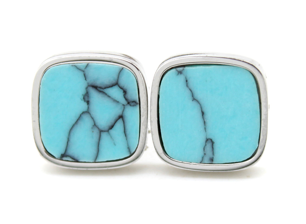 With love Earrings square with marble silver