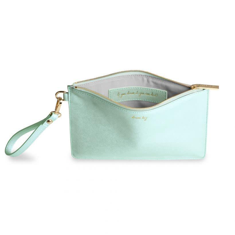 Katie Loxton Katie Loxton secret message pouch - dream big - mint 16x24 cm