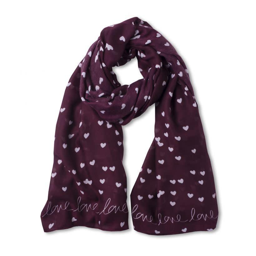 Katie Loxton Sentiment scarf - love love love - burgundy
