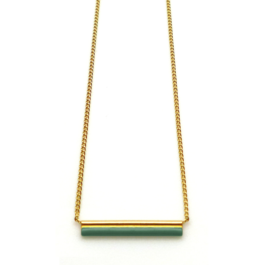 Nadja Carlotti Gold plated necklace étincelle green