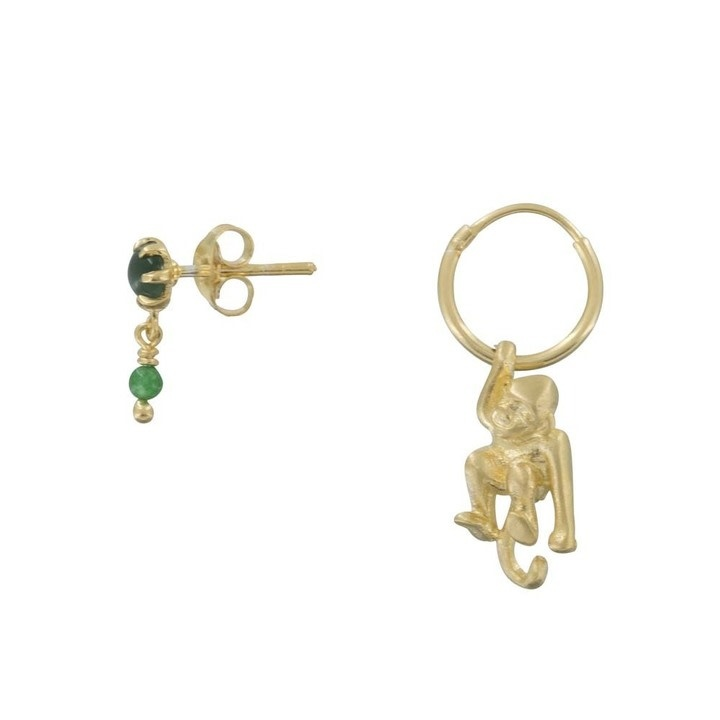 Betty Bogaers Betty Bogaers green double stud and monkley hoop earrings gold