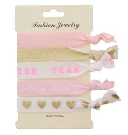 With love Hair elastics - bride team - glitter hearts