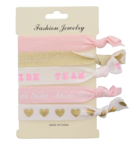 With love Hair elastics - bride team - glitter hearts