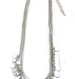 With love Necklace with metal chains and small coins silver
