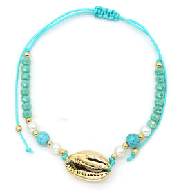With love Anklet with Beads and Shell Blue