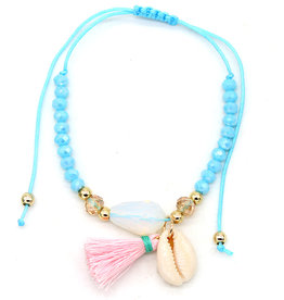 With love Anklet with beads shell and tassel - blue