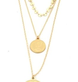 With love Necklace 3 layers coins Queen Elizabeth gold