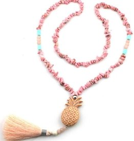 With love Necklace with tassel and pineapple 85 cm