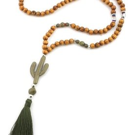 With love Wooden necklace with buddha and cactus 85 cm