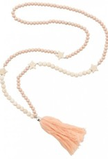 With love Necklace pink stars and tassels 105 cm