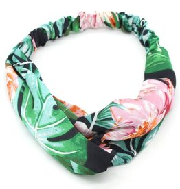 With love Headband jungle flowers green - black