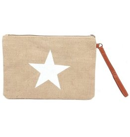 With love Jute clutch with star white 27x19 cm