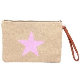 With love Jute clutch with star pink 27x19 cm