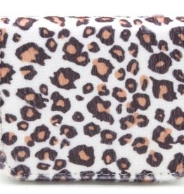 With love Small wallet leopard print white 11x8.5 cm