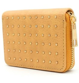With love Small PU wallet with gold studs yellow 11x8.5 cm