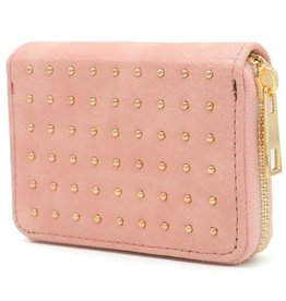 With love Small PU wallet with gold studs pink 11x8.5 cm