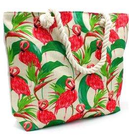 With love Beach bag flamingos - green 44 x 34 cm