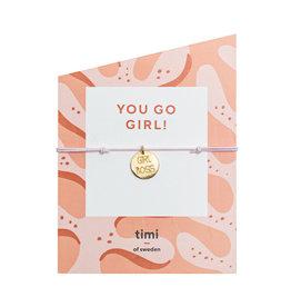 Timi Girl boss stretch bracelet gold - pink