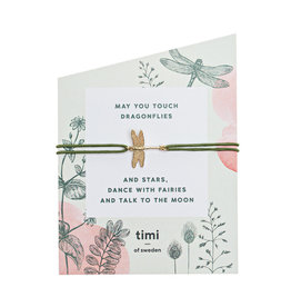 Timi Dragonfly stretch bracelet gold - olive