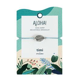 Timi Cowrie shell bracelet silver - blue