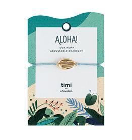 Timi Cowrie shell bracelet gold - blue
