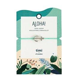 Timi of Sweden Anchor hemp bracelet silver - turquoise