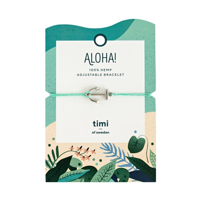 Timi of Sweden Anchor hemp bracelet silver - turquoise