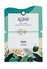 Timi Anchor hemp bracelet gold  - turquoise