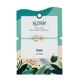 Timi Anchor hemp bracelet gold  - turquoise