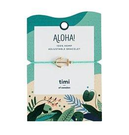 Timi of Sweden Anchor hemp bracelet gold  - turquoise