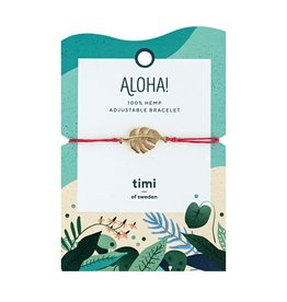 Timi Monstrera hemp bracelet gold - red