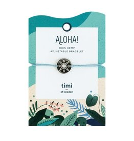 Timi Compass hemp bracelet silver - blue