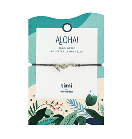 Timi of Sweden Seahorse hemp bracelet silver - dark grey