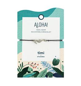 Timi Seahorse hemp bracelet silver - dark grey