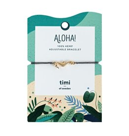 Timi Seahorse hemp bracelet gold - dark grey