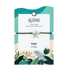 Timi Starfish hemp bracelet silver - black