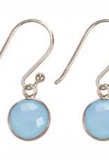 Treasure Silver earrings round 8 mm - gold plated aqua