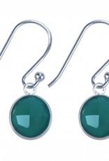 Treasure Silver earrings round 8mm green onyx