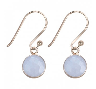 Treasure Silver earrings round 8 mm - gold plated - moon stone