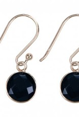 Treasure Silver earrings round 8 mm - gold plated - black onyx