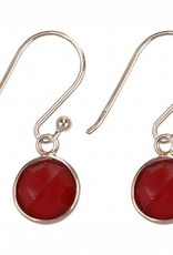 Treasure Silver earrings round 8 mm - gold plated - red onyx