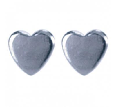 Treasure Silver stud earrings heart 3x3 mm