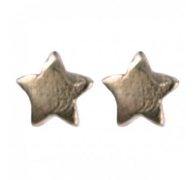 Treasure Silver stud earrings gold plated star 3.5 mm